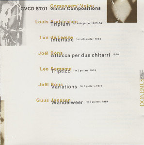 CD_Guitar Compositions_Donemus CVCD 8701